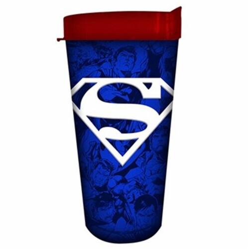 Silver Buffalo 16 oz Superman Logo Tumbler, Blue Perspective: front