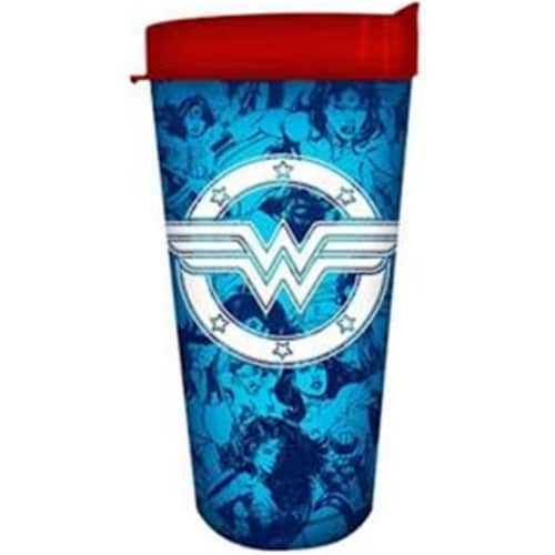 Silver Buffalo 16 oz Wonder Woman Multi Panels Logo Stars Domestic Tumbler Perspective: front