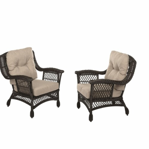 W Unlimited SW14042C Outdoor Garden Patio Cappuccino Furniture Set of 2 Arm Chairs Perspective: front