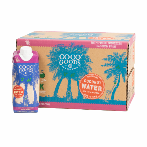 CocoGoods Co Natural Coconut Water with Passion Fruit Juice 16.9 fl. oz Perspective: front