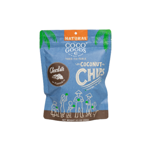 Natural Coconut Chips Chocolate 3.5 oz, Zip lock Bag Perspective: front