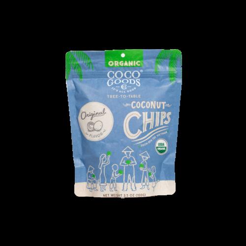Organic Coconut Chips Original 3.5 oz, Zip lock Bag Perspective: front