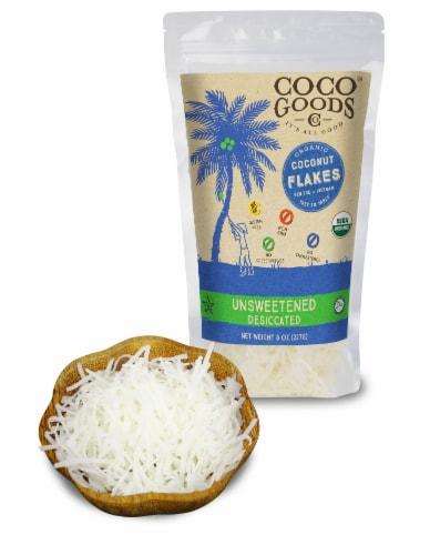 Organic Unsweetened Desiccated Coconut, FLAKES Grade, 8 oz per Bag Perspective: front
