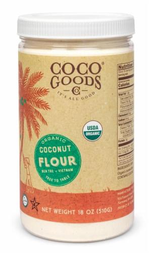 Organic Coconut Flour 18 oz  PET Jar Perspective: front