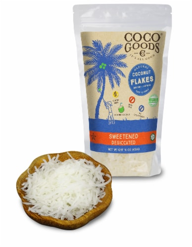 Natural SWEETENED Desiccated Coconut, FLAKES Grade, 16 oz per Bag Perspective: front