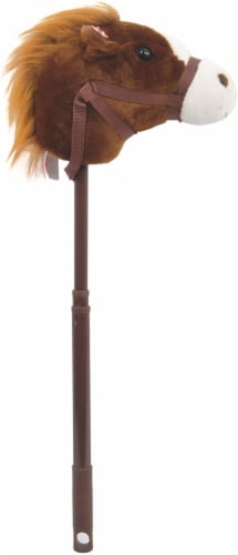 Linzy Toys Dark Brown Adjustable Horse Stick with Sound Perspective: front