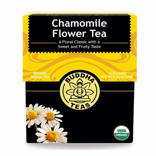 Buddha Teas Chamomile Flower Tea Perspective: front