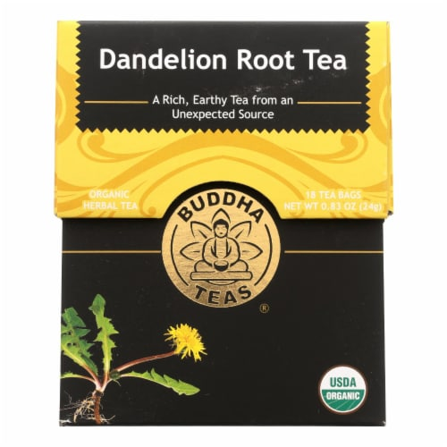 Buddha Teas - Organic Tea - Dandelion Root - Case of 6 - 18 Bags Perspective: front