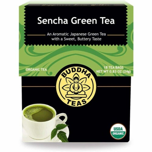 Buddha Teas Sencha Green Tea Perspective: front