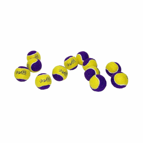 Midlee Squeaky Mini Tennis Ball for Dogs 1.5 - Pack of 12 (Yellow/Purple) Perspective: front