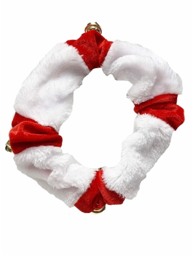 Midlee White/Red Dog Christmas Plush Jingle Bell Collar (Large) Perspective: front