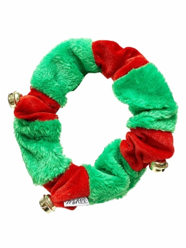 Midlee Red/Green Christmas Plush Bell Collar (Small) Perspective: front