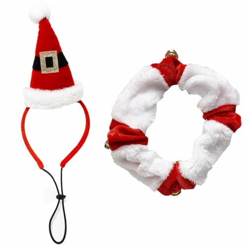 Midlee Santa Hat Headband with Red/White Bell Collar for Large Dogs Perspective: front