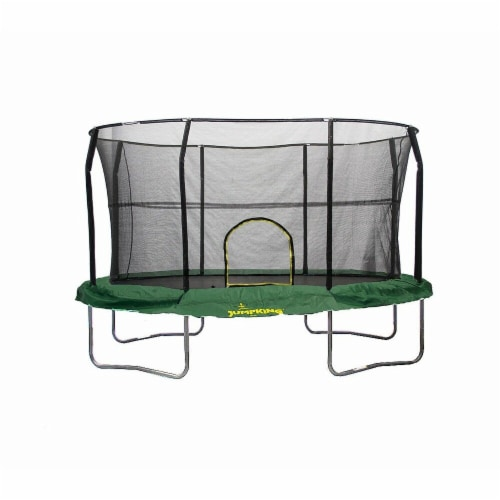 JumpKing JK812GR-V2 8 x 12 ft. Trampoline with Solid Green Pad - Oval Perspective: front