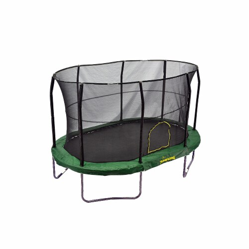 JumpKing JK914GR-V2 9 x 14 ft. Trampoline with Solid Green Pad - Oval Perspective: front