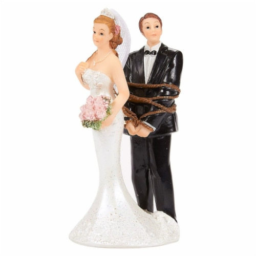 Juvale Fun Wedding Couple Figures Decorations Cake Topper - Bride Tied up Groom Figurines Perspective: front