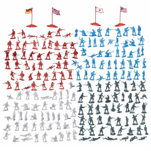 200-Piece Military Figures Set, Toy Soldiers Army in 4 Colors, World War II Perspective: front