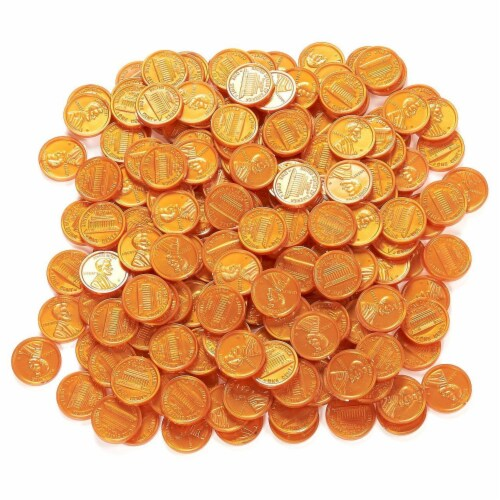 200 Fake Plastic Penny Coins Novelty Pirate Play Toy Prizes Parties Copper Color Perspective: front