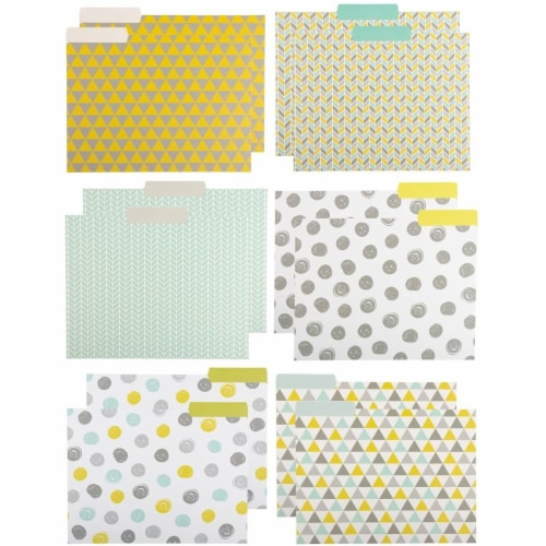 File Folders with Geometric Design, Letter Size (9.5 x 11.5 Inches, 12 Pack) Perspective: front