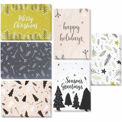 Modern Festive Christmas Cards with Envelopes, Winter Holiday Designs (4 x 6 In, 48 Pack) Perspective: front