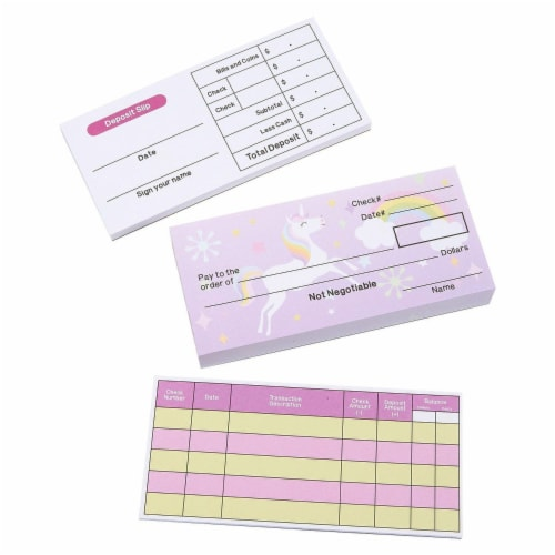 150-Sheet Checkbook Play Set Educational Toy for Kids, Unicorn and Fairy Theme Perspective: front