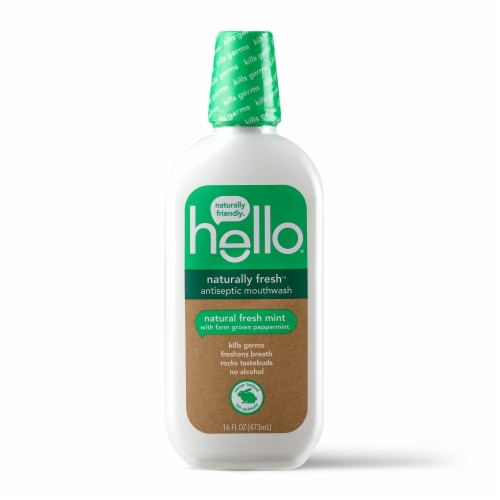 Hello Natural Fresh Mint Antiseptic Mouthwash Perspective: front