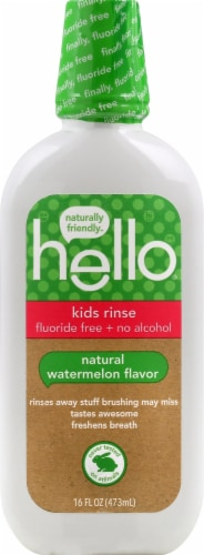 Hello Kids Organic Watermelon Fluoride Free Mouth Rinse Perspective: front