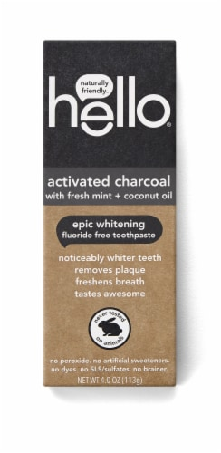 Hello Activated Charcoal with Fresh Mint + Coconut Oil Epic Whitening Fluoride Free Toothpaste Perspective: front