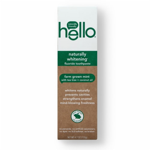 Hello Farm Grown Mint Naturally Whitening Fluoride Toothpaste Perspective: front