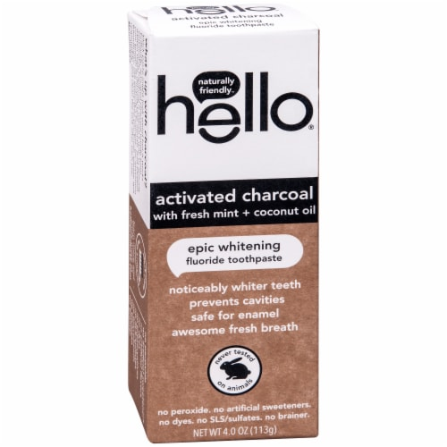 Hello Activated Charcoal with Fresh Mint + Coconut Oil Epic Whitening Fluoride Toothpaste Perspective: front