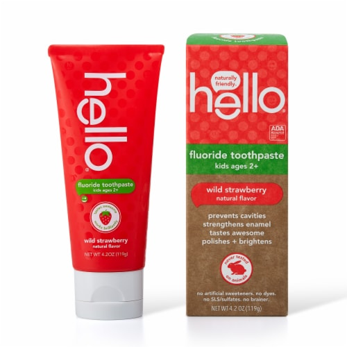 Hello Wild Strawberry Kids Fluoride Toothpaste Perspective: front