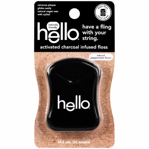 Hello Activated Charcoal Infused Floss Perspective: front