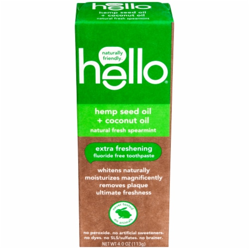 Hello Natural Fresh Spearmint Fluoride Free Toothpaste Perspective: front