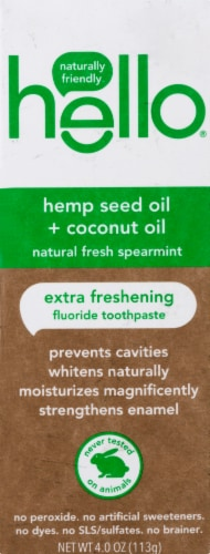 Hello Natural Fresh Spearmint Hemp Seed Oil + Coconut Oil Extra Freshening Fluoride Toothpaste Perspective: front