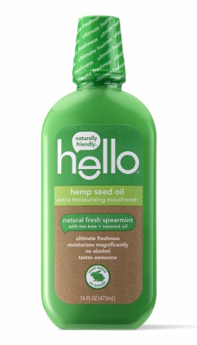 Hello Hemp Seed Oil Natural Fresh Spearmint Extra Moisturizing Mouthwash Perspective: front