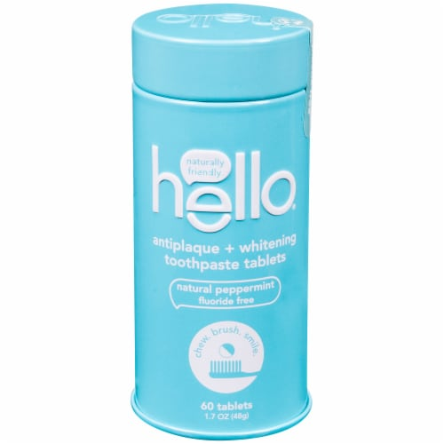 Hello Natural Peppermint Antiplaque + Whitening Toothpaste Tablets Perspective: front