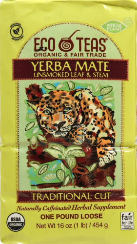 Eco Teas Yerba Mate Unsmoked Loose Leaf & Stem Traditional Cut Perspective: front