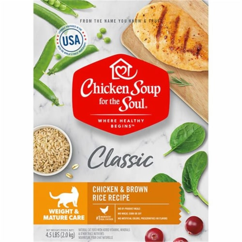 Chicken Soup 418435 No.4.5 Weight & Mature Care Chicken & Brown Rice Recipe Cat Food Perspective: front