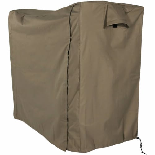 Sunnydaze Log Rack Cover Waterproof Polyester with PVC Backing - Khaki - 5' Perspective: front