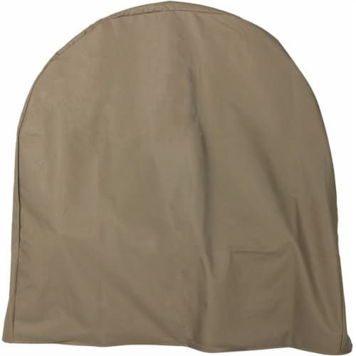 """Sunnydaze Log Hoop Cover for Firewood Polyester with PVC Backing - Khaki - 40"""" Perspective: front"""