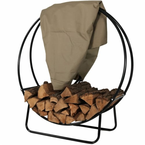 "Sunnydaze Firewood Log Hoop Holder with Khaki Cover Outdoor Black Steel - 40"" Perspective: front"