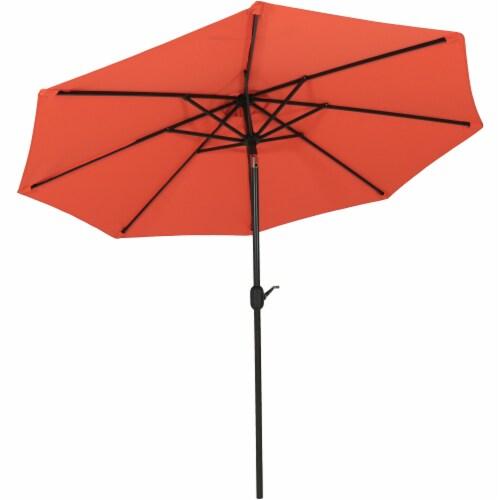Sunnydaze 9' Fade Resistant Outdoor Patio Umbrella with Auto Tilt - Burnt Orange Perspective: front