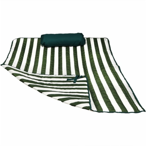 Sunnydaze Polyester Quilted Hammock Pad and Pillow Only Set - Green-White Stripe Perspective: front