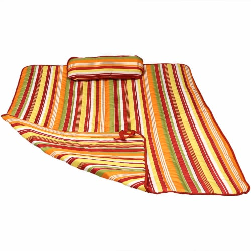 Sunnydaze Outdoor Polyester Quilted Hammock Pad/Pillow Only Set-Tropical Orange Perspective: front