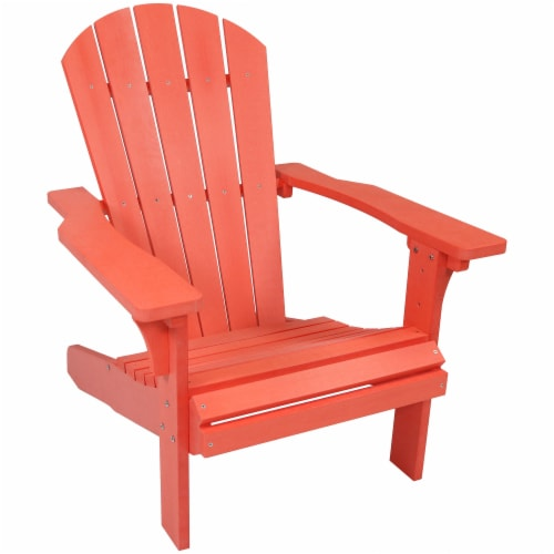 Sunnydaze All-Weather Outdoor Patio Adirondack Chair w/ Faux Wood Design -Salmon Perspective: front