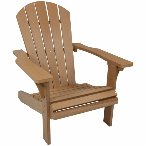 Sunnydaze All-Weather Patio Adirondack Chair with Faux Wood Design - Brown Perspective: front