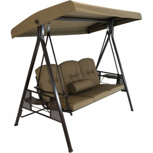 Sunnydaze 3-Person Adjustable-Tilt Canopy Patio Swing with Pillows and Cushions Perspective: front