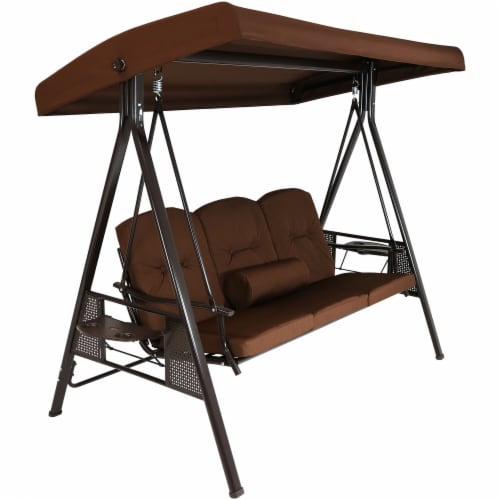 Sunnydaze 3-Person Steel Frame Outdoor Canopy Swing with Side Tables - Brown Perspective: front