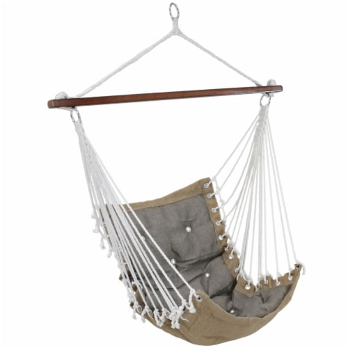 Sunnydaze Tufted Victorian Hanging Hammock Chair Swing - 300-Pound Limit - Gray Perspective: front
