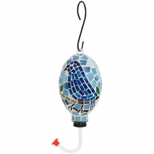 """Sunnydaze Outdoor Hanging Hummingbird Feeder Outdoor Mosaic Glass Bluebird - 6"""" Perspective: front"""
